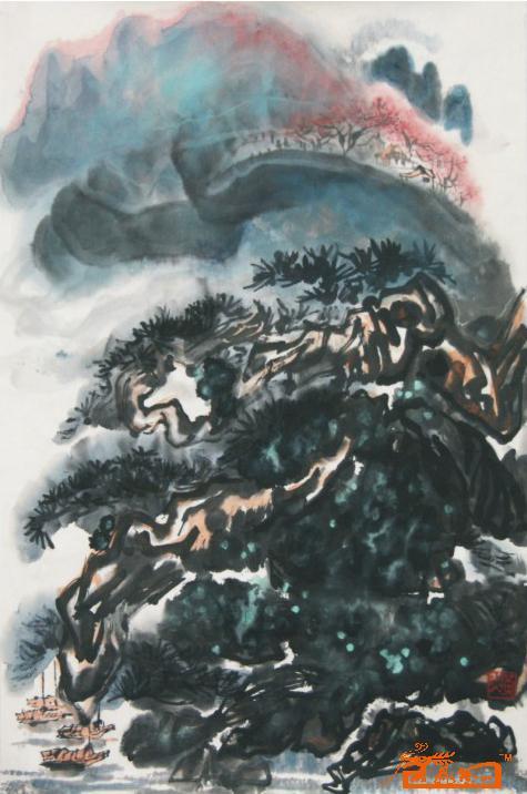 名家 黄国强 国画 - 彩墨山水-松树